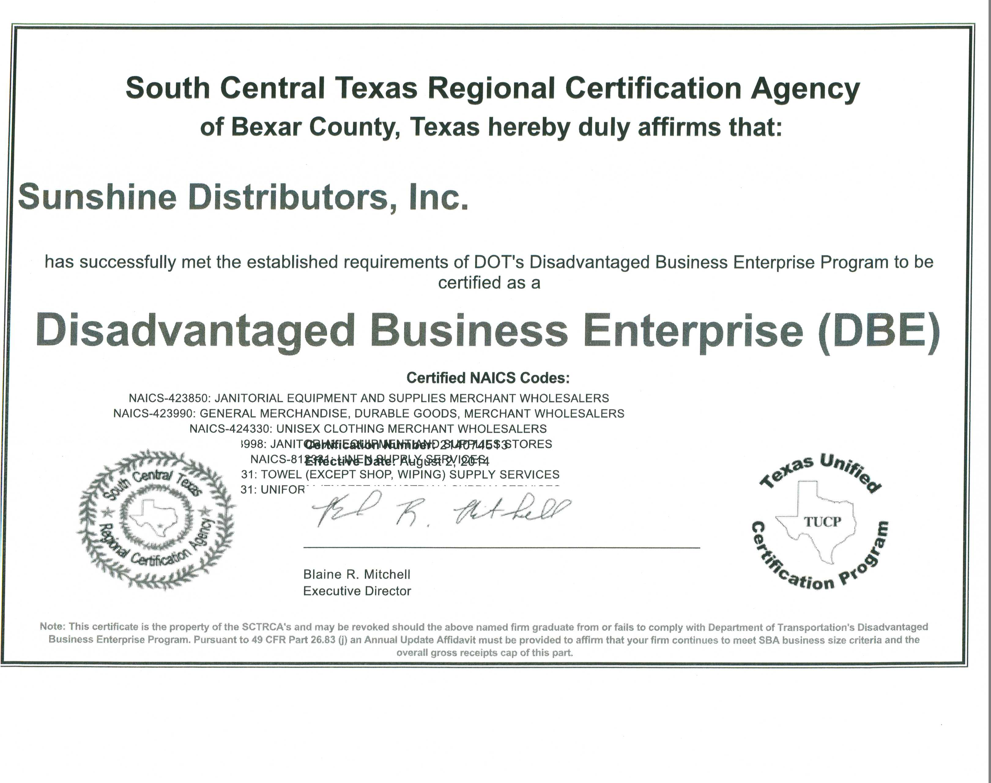 Certifications Sunshine Of Sa Hospitality Healthcare Supply